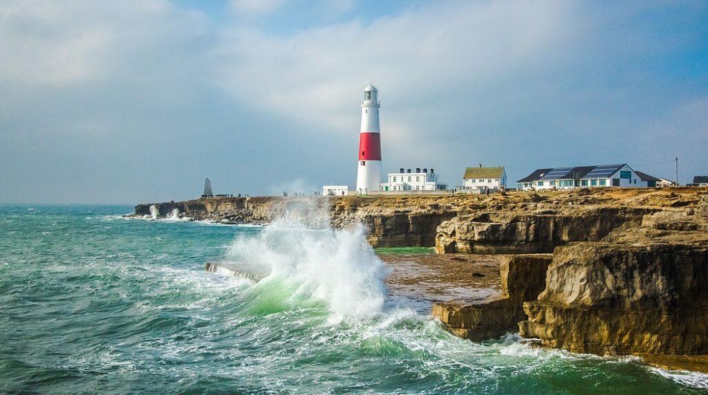 lighthouse, ocean, waves