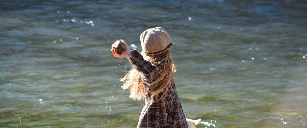 child, girl, water